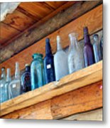 Antique Bottles Blues Metal Print