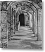 Archway At Moravian Pottery And Tile Works In Black And White Metal Print