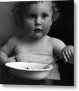 Baby Eating Cereal 1910s Black White Archive Boy Metal Print