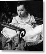 Baby In Chair 1910s Black White Archive Boy Kids Metal Print