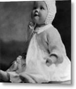 Baby Wearing Sweater Cap 1920s Black White Boy Metal Print