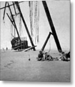 Beached Sailing Ship Circa 1900 Black White Metal Print