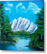 Blue Lake Mirror Reflection Dreamy Mirage Metal Print