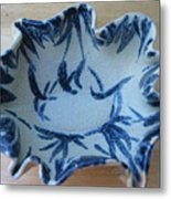 Blue Leafy Bowl Metal Print by Julia Van Dine