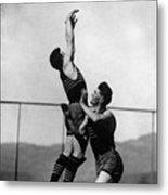 Boy Shooting Basketball 1910s Black White Ball Metal Print
