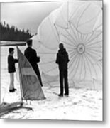 Boys Frozen Lake Parachute Sailboard Circa 1960 Metal Print
