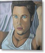 Brad Pitt Portrait Painting  Metal Print