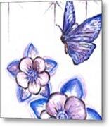 Butterfly Amongst The Flowers Metal Print