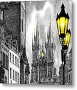 Bw Prague Old Town Squere Metal Print