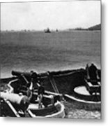 Cannons In Fort Aimed Harbor Circa 1865 Black Metal Print