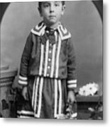 Child Kid Flowers 1890s Black White Archive Boot Metal Print