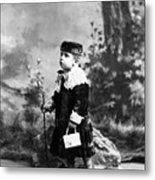 Child Kid In Fancy Velvet Outfit 1890s Black Metal Print