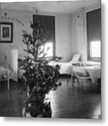 Christmas Tree In Hospital Ward 1923 Black White Metal Print