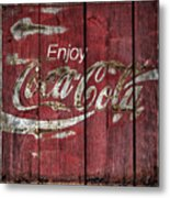 Coca Cola Sign Barn Wood Metal Print