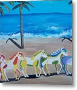 Colored Art Horses Metal Print
