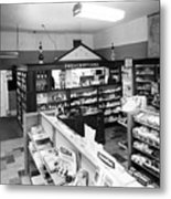 Counter In Drugstore 1959 Black White 1950s Metal Print