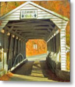 Covered Bridge Watercolor  Metal Print