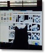 Critic Cat Metal Print