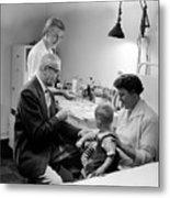 Doctor Giving Toddler Shot 1958 Black White Baby Metal Print