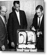 Doctors Looking Heart Circa 1960 Black White Metal Print