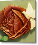 Dove On A Rose Metal Print