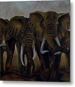 Elephant Herd Hurrying For A Drink Metal Print