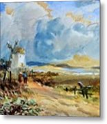 Figures Approaching A Windmill Metal Print