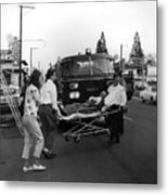 Fire Department Rescue Circa 1960 Black White Metal Print