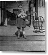 Girl Hugging Stuffed Animal Porch 1920s Black Metal Print