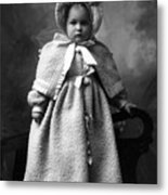 Girl Posing In Winter Coat 1903 Black White Metal Print