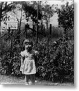 Girl Tomato Patch 1950s Black White Archive Kids Metal Print