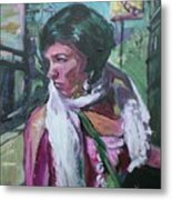 Girl With White Shawl Metal Print
