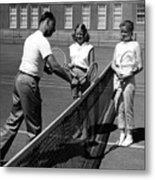 Girls Getting Tennis Lesson Circa 1960 Black Metal Print