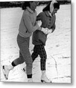 Girls Ice Skating Circa 1960 Black White 1950s Metal Print