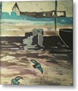 Gray Skies Out On The Sea  Metal Print