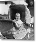 Happy Baby In Wicker Buggy Fall 1925 Black White Metal Print