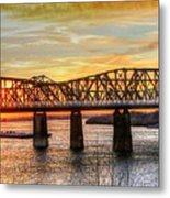 Harahan Bridge In Memphis,tennessee At Sunset Metal Print