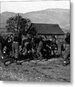 High School Football Game 1912 Black White 1910s Metal Print