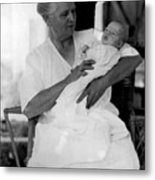 Holding Baby 1927 Black White 1920s Archive Boy Metal Print