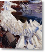 Ice Breaking On The Shores Of Kalela Metal Print