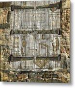 In The News Vintage Hay Barn Door Metal Print