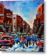 Late Afternoon Street Hockey Metal Print