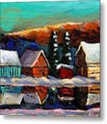 Laurentian Landscape Quebec Winter Scene Metal Print