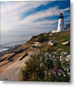 Lighthouse With Wildflowers Metal Print