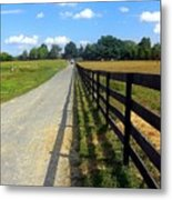 Long Fence For A Long Road Metal Print