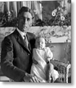 Man Male Holding Baby 1910s Black White Archive Metal Print
