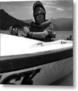 Man Male In Racing Boat June 12 1963 Black White Metal Print