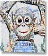 Monkey Rainbow Splattered Fragmented Blue Metal Print