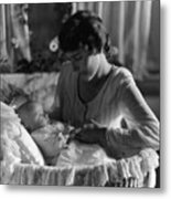 Mother Baby 1910s Black White Archive Bassinet Metal Print