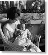Mother Holding Baby 1910s Black White Archive Metal Print